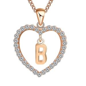 Jewelry - Letter B Monogram Crystal Heart Pendant Necklace